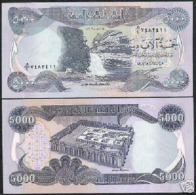 100,000 NEW CRISP IRAQI DINAR UNCIRCULATED SERIAL NUMBERS 20 x 5,000 5000