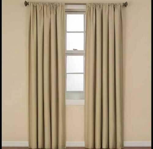 """Latte Set of 2 Eclipse Kendall Thermal Blackout Curtain Panel 42/""""W x 84/""""L Cafe"""