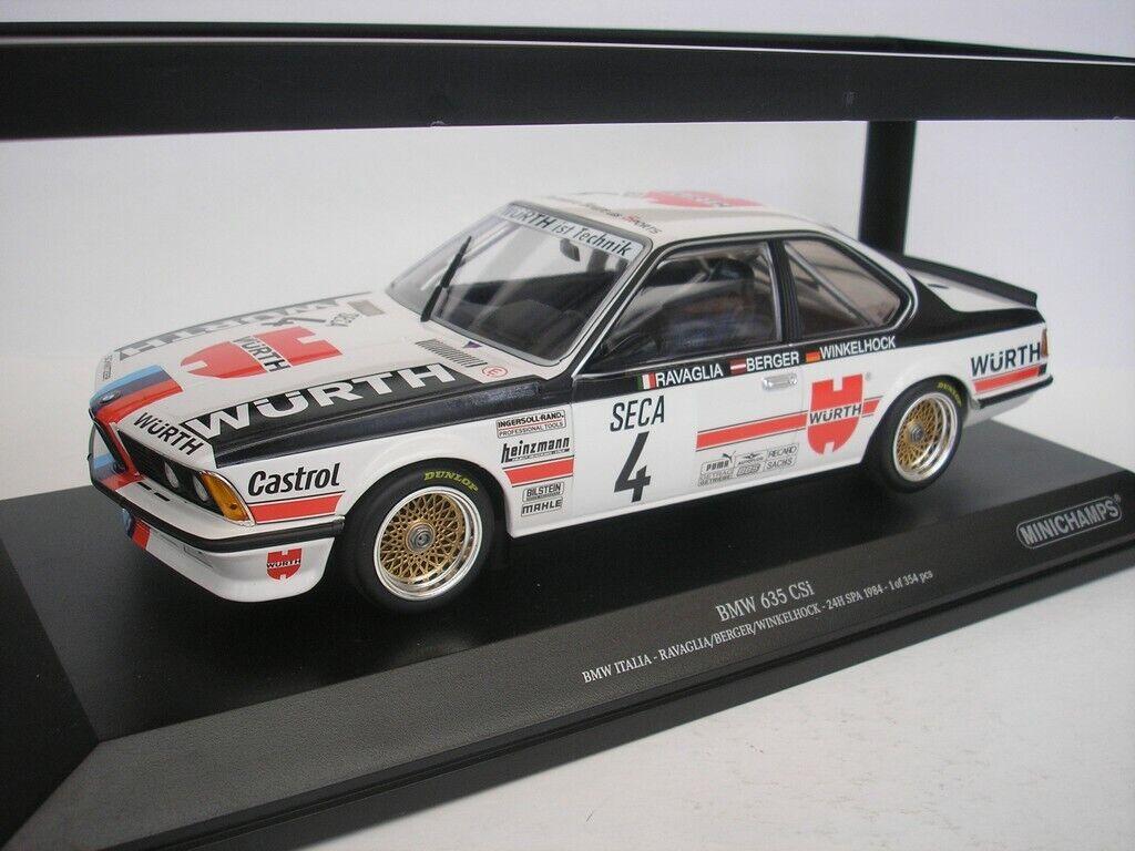 BMW 635 Csi  4 24hrs Spa 1984 Ravaglia 1 18 Minichamps 155842504 Neuf