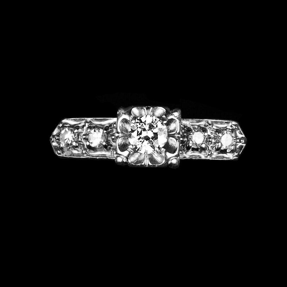 14k white gold engagement ring, 1 4 carat brilliant-cut diamonds rings M-F