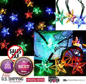 Outdoor Solar Powered Star String Lights 30 LED Fairy Bubble Garden Party Decor
