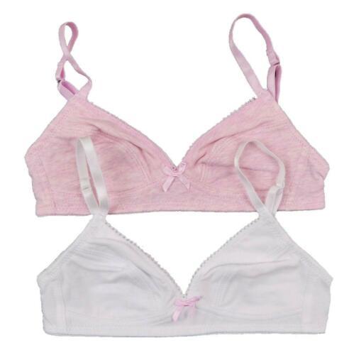 Ragazze PRIMO Reggiseno Set 30AA confezione di due Rosa e Bianche ex BHS etichettato £ 8.00