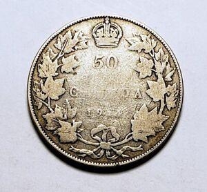 Canada-1914-Silver-50-Cents-Half-Dollar-Coin