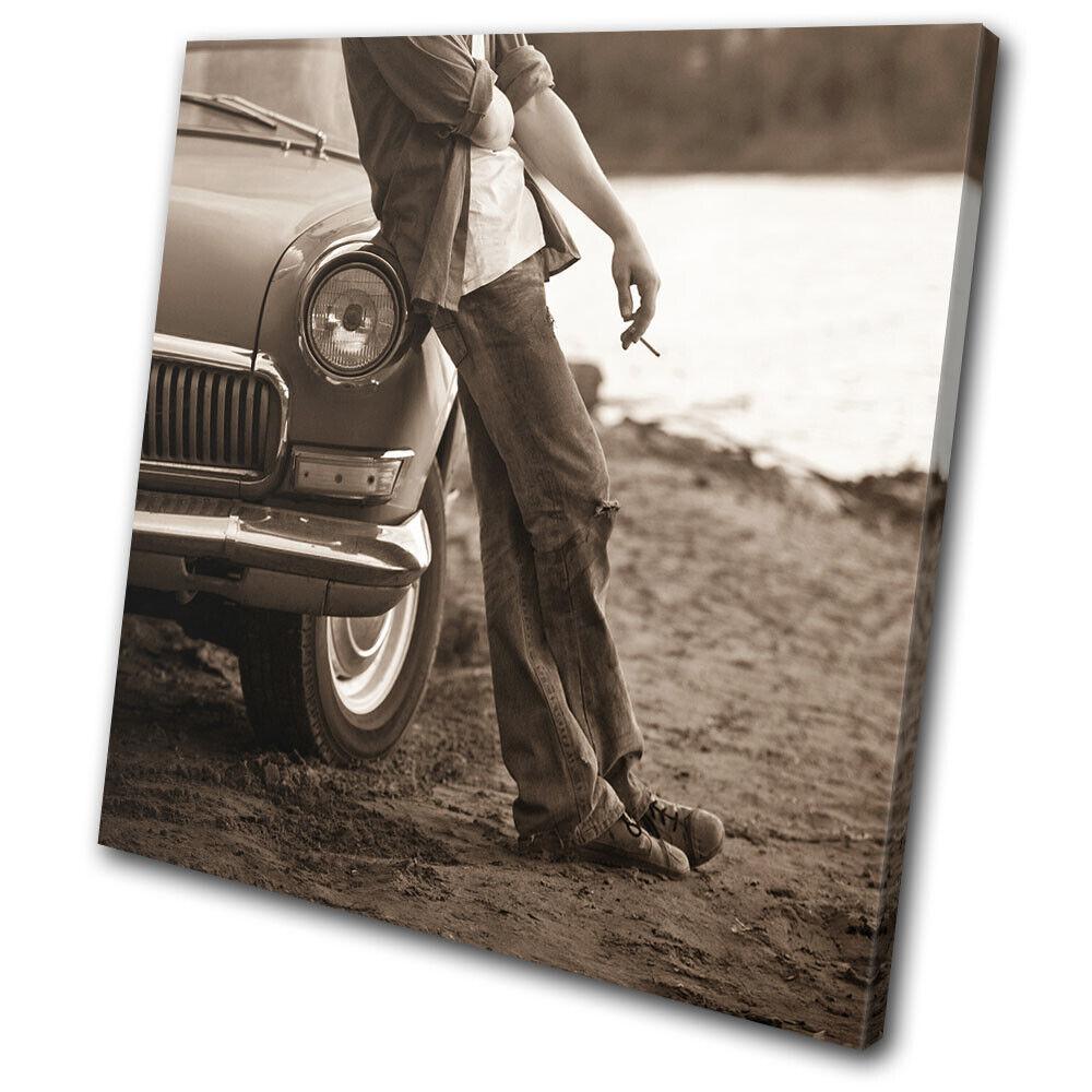 Retro Car Boy Smoking Sepia marron Vintage SINGLE TOILE murale ART Photo Print