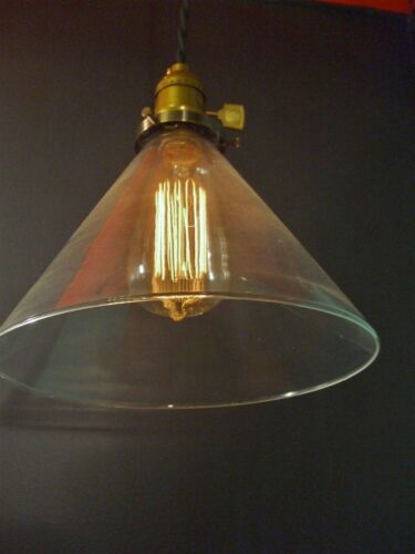 Machine Age Pendant Lamp Vintage Industrial Hanging Light with Glass Cone Shade