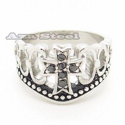 Men's Women's Silver Black CZs Cross Crown Stainless Steel Ring Size 7,8,9,10,11