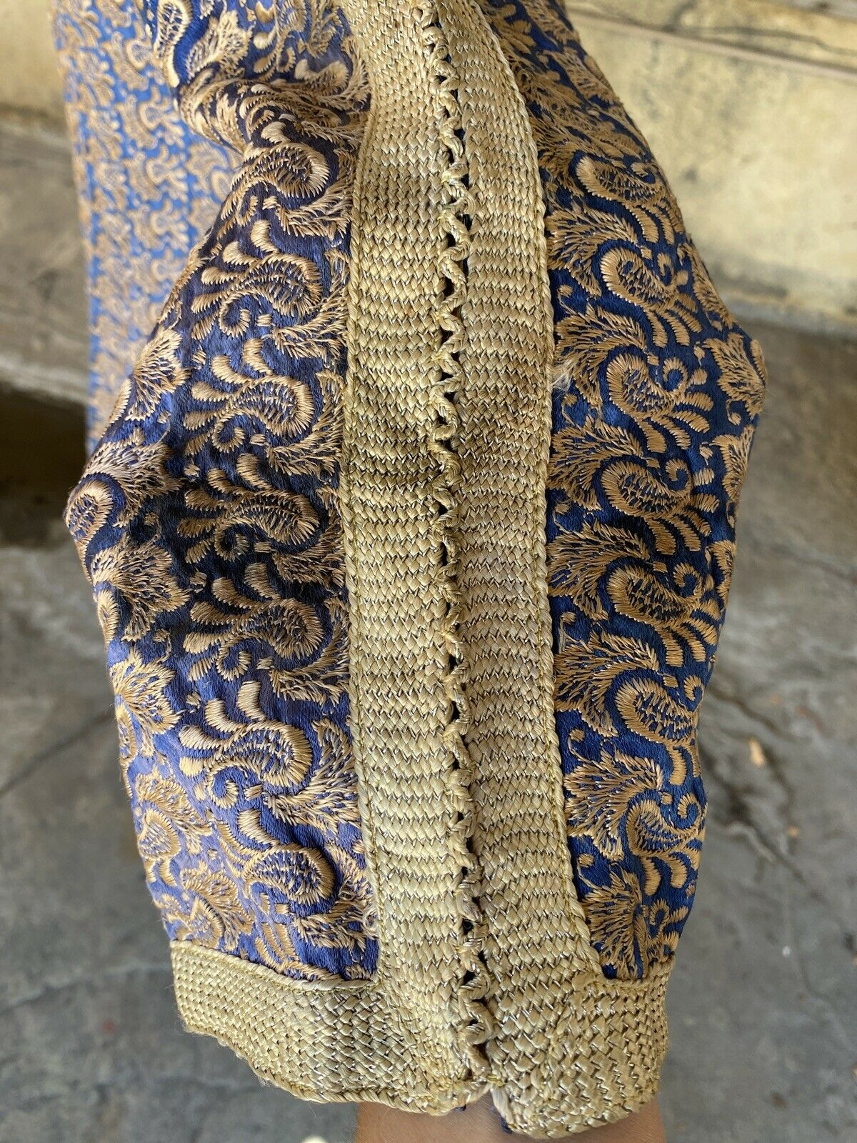 Antique 1920s 1930s Blue Silk Floral Embroidered … - image 12