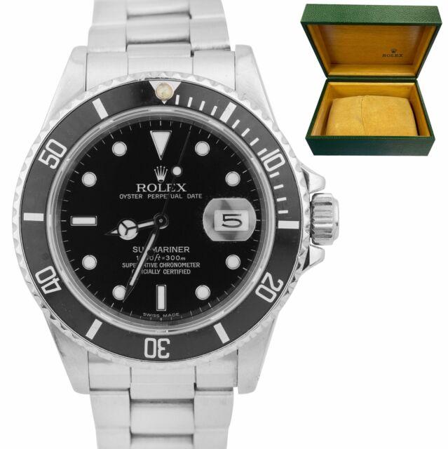 1987 TRIPLE ZERO Rolex Submariner Date Black Stainless Steel 40mm Watch 168000