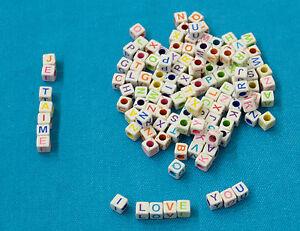 Lot Perle 6mm Blanche Lettre Alphabet Cube Braclet Porte clé... Attache tetine