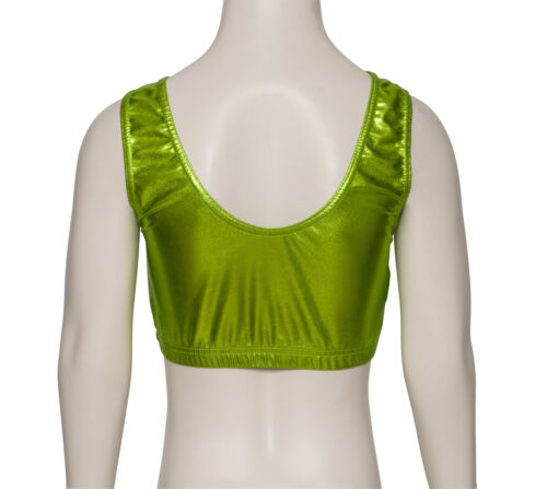 Ladies Girls Shiny Metallic Dance Tank Back Crop Top KCTM-6 By Katz All Colours