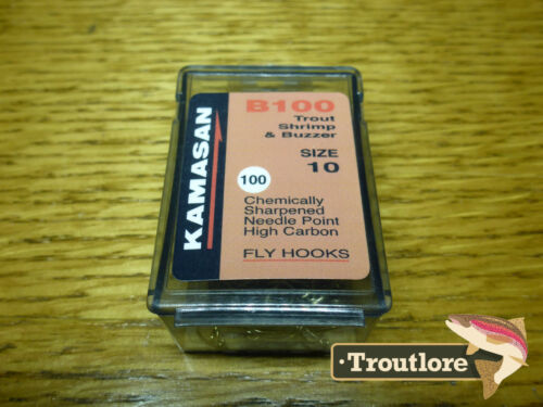 SCUD FLY HOOKS 100 x KAMASAN B100 #10 GRUB NEW FLY TYING MATERIALS