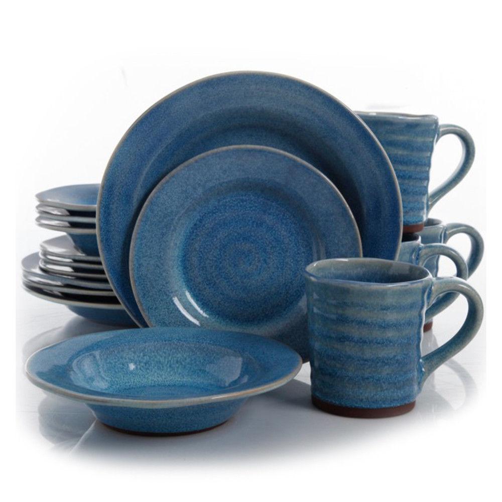 Gibson Elite Mariani 16 Pièce Stoneware Dinnerware Set en Bleu