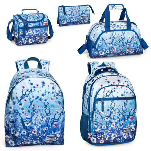 Eastwick Floral Blue Backpack Holdall Rucksack Travel School Girls Lunch Bag