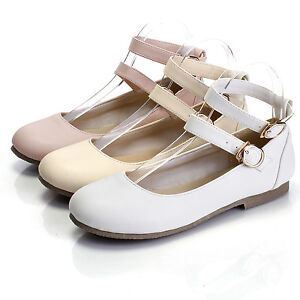 Womens-Ankle-Strap-Flat-Lolita-Casual-Oxford-Mary-Jane-Pump-Ballet-Shoes-Plus-10
