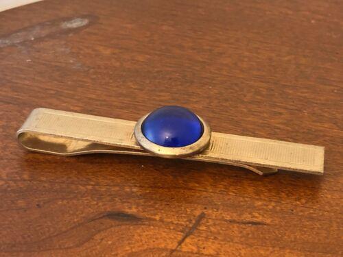 Hickok Blue Glass Cabachon Tie Tack Tie Bar Gold Tone Tie Bar Vintage Tie Tack Blue Glass Gold Tone Tie Bar
