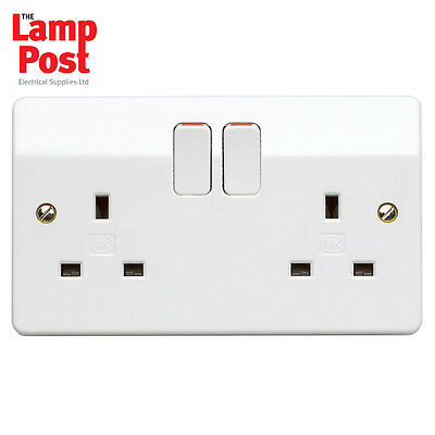 K2747WHI 10 x MK K2747 Double Twin Switched Socket 2G 2 Gang White 13A