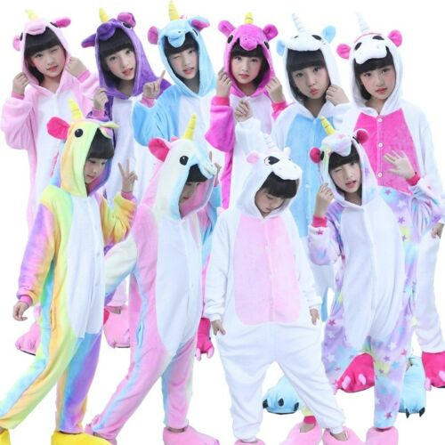 Kids Unicorn Kigurumi Animal Cosplay Costume Onesie16 Pajamas Sleepwear