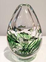 Orrefors Glass Graal Fish Vase by Edward Hald Signed