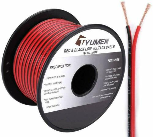 100FT 18 Gauge 2pin Red Black Cable Hookup Electrical Wire LED Strips DC Cable