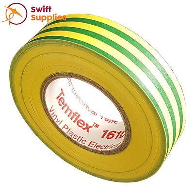 10 Roll Pack: 3M Temflex 1610 Green-Yellow PVC Electrical Tape | 18mm x 20  Mtrs | eBay