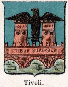 Tivoli-Small-Crest-1901-Rome-Chromolithography-Print-Ancient-mat