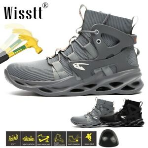 Wisstt Men/'s ESD Work Steel Toe Boots Safety Shoes Indestructible Hiker Trainers