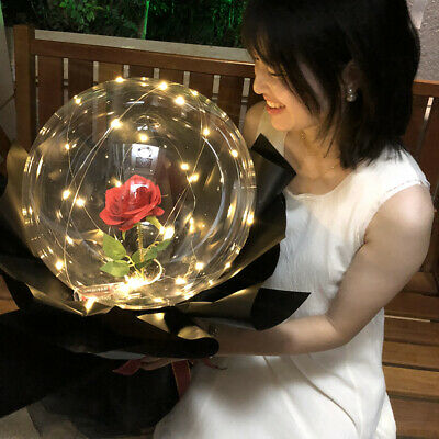 Luminous LED Light Forever Rose Flower Balloon Clear Round Bubble Valentine Gift