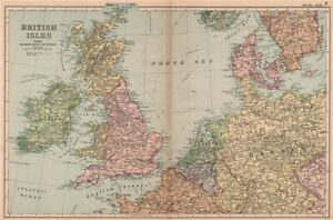 Steamship Routes.bacon 1904 Map Art British Isles/nw Europe Continental Connections