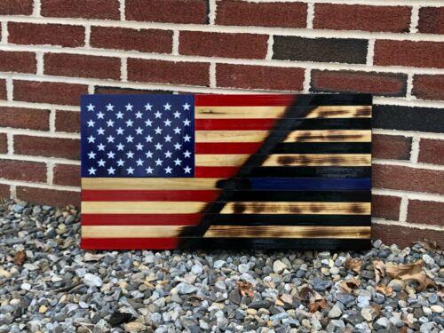 Two Tone Rustic Woodburnt Half American Flag Half Thin Blue Line