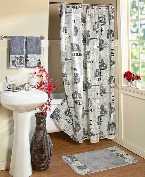 Europa Eiffelturm Rom City schwarz Shower Curtain & Hooks Rug Bath Set