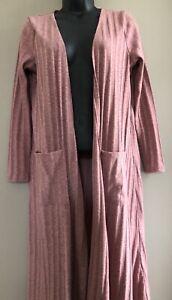 Lularoe-Sarah-Ribbed-Cardigan-Duster-Womens-Medium-Rose-Pink-open-Front-Sz-Small