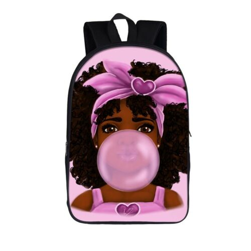 African American Black Princess Woman Fabric Backpack Travel Daypack School Bag