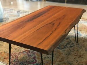 Merveilleux Details About Rustic Cherry Wood Coffee Table With Hairpin Legs