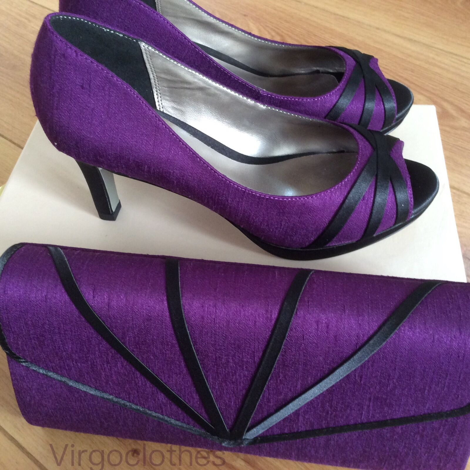 NEW - Jacques Vert Byzantium Range, violet chaussures Taille 3 & Handbag,