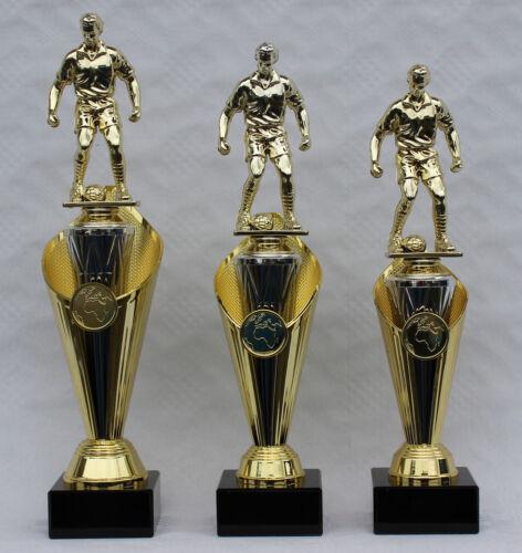 Série 3er trophées de football personnages Incl médaillon et embemen