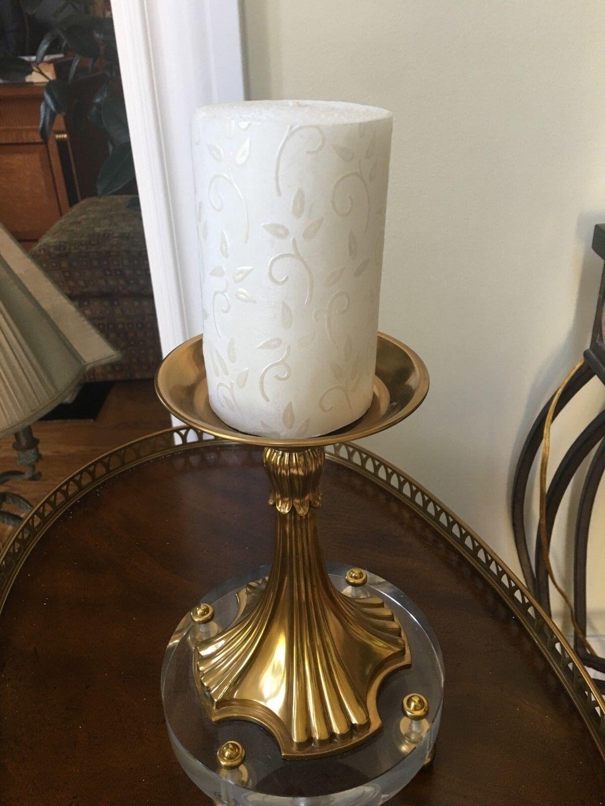Maitland Smith Amber Finished Cast Brass Candleholder with Glass Base