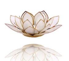 Chakra Lotus Licht mit Rand Natur mit goldfarbenem Rand Geschenkidee
