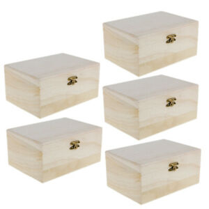 Pack Of 5 Unfinished Wood Treasure Chest Boxes for ...