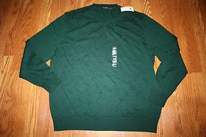 NWT-Mens-NAUTICA-Dark-Green-V-Neck-Sweater-Size-L-Large