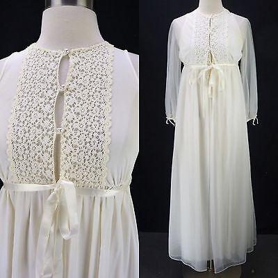 Vintage Warners Off-White Long Lace Trim Nightgown Chiffon Peignoir Robe Set XS