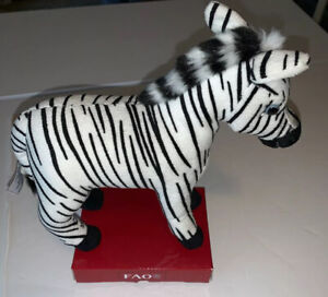 "FAO Schwarz Toys R Us Plush Stuffed Animal Toy Zebra New! 7"" Tall A1"