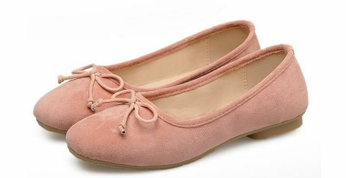 Ballet flats loafers women's shoes low pink suede like leather comfortable CW984