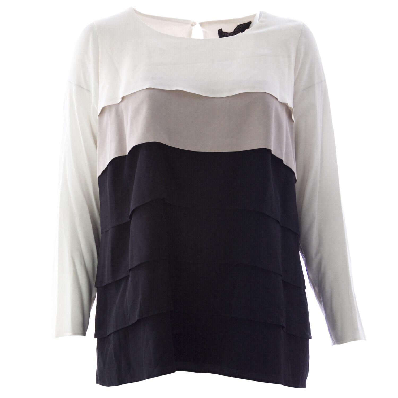 MARINA RINALDI Women's Multi Bauxite Pure Silk Blouse NWT