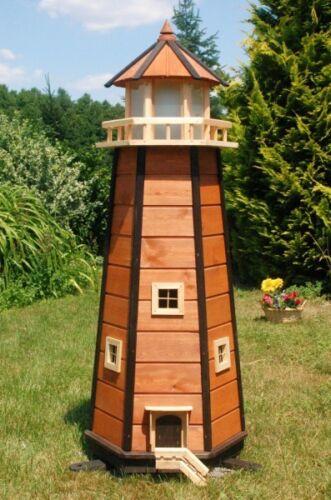 Riesiger XXL Leuchtturm mit Solar Beleuchtung 1,40m braun LED Gartendeko
