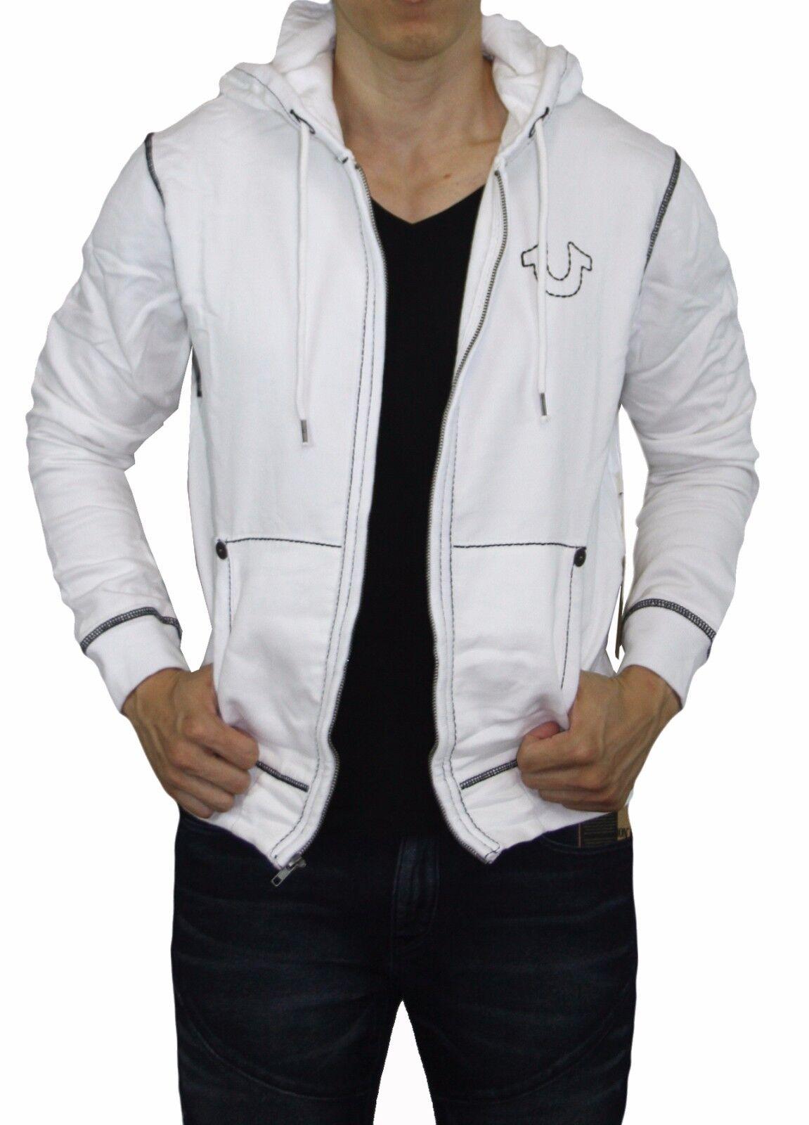 True Religion Brand Jean Men's Big T Stitch Logo Hoodie Jacket Outerwear White