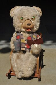 vintage battery mt trademark litho bear reading book tin toy japan