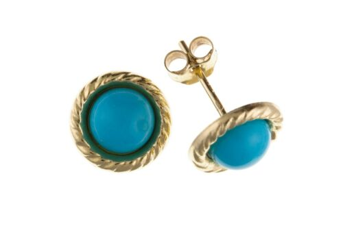 Turquoise Earrings Solid Gold Stud 9 Carat Oval Solitaire Studs Natural Stone