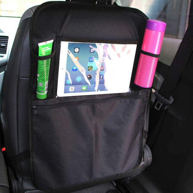 NEW Car Kick Mats Back Seat Scuff Protector IPad Bottle Storage Organiser UK