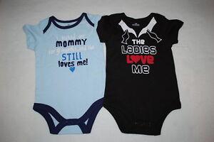 f405d4690 Baby Boys 2 LOT BODYSUIT TEE Black LADIES LOVE ME Blue I KICKED ...