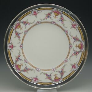 "ROYAL WORCESTER ANTIQUE STERLING SILVER RIM ROSEMARY 12"" PLATTER CHOP PLATE"
